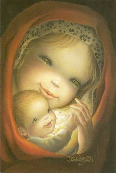 Niñito envuelto en velo y sostenido de la mano de Maria Mother Mary, Mother And Child, Vintage Christmas Cards, Christmas Art, Madona, Mama Mary, Mary And Jesus, Spanish Painters, Madonna And Child