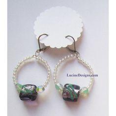 Purple green earrings fashion jewelry