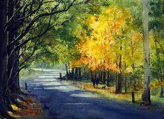 Joe Cartwright's Watercolor Blog: Watercolor Landscape Painting of Mount Wilson Autumn Colors