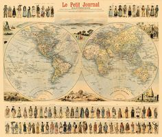 Antique illustrated  world map print  28 x 33  by AncientShades, $51.00