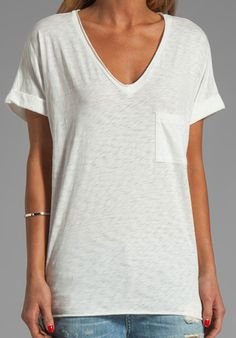RAG & BONE/JEAN Oversized Pocket V Tee in White