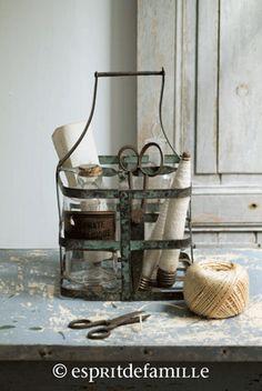 string. metal milk bottle basket..