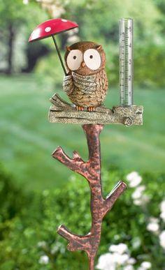 Grasslands Road Owl Rain Gauge Stake, 29-Inch, Set of 2:Amazon:Patio, Lawn & Garden