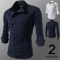 2015 nueva moda casual pure color de manga larga slim fit camisas de los hombres 4 colores m-xxl-en Hombre Camisetas de Ropa en m.spanish.alibaba.com.