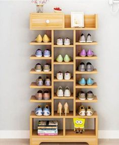 47 Unique Diy Shoe Rack Ideas To Keep Your Shoes. The over door shoe rack is the most spacious solution for efficient shoe storage. Shoe Storage Furniture, Shoe Storage Design, Diy Shoe Storage, Rack Design, Bedroom Storage, Storage Shelves, Wood Furniture, Storage Ideas, Diy Bedroom