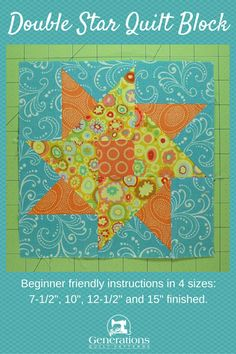 Make a Double Star quilt block. Instructions for 4 sizes. Learn the partial seams method to make this twinkling star block pattern.