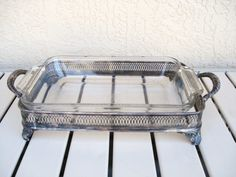 Vintage Silver Plated CASSEROLE BAKE DISH Stand by npebaysale, $65.00