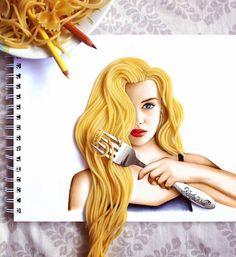 """Spaghetti Hair"" ✎ (Colorful and super imaginative illustrations by Kristina Webb in @colour_me_creative) #creativity #design"