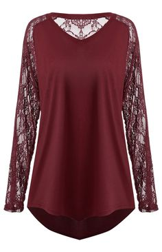 Sheer Lace Sleeve Plus Size Asymmetric T-shirt