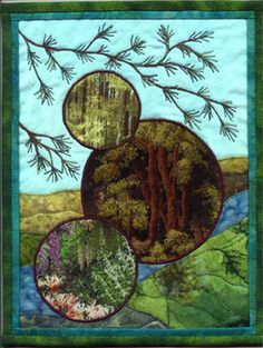 """Quilt art. Plays to rustic, """"Country"""" theme.  Journal Quilts 2004 --- March Susan gritting ham via Janet the Quilter"""
