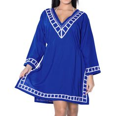 La Leela Plain Designer Beach Bikini Cover up Casual Top Royal, Women's