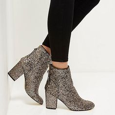 Gold glitter block heel ankle boots - boots - shoes / boots - women