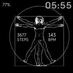 Vitruvian Man by Leonardo Da Vinci  ⭐ Vitruvian is a fitbit watchface representing the proportions of the human body according to Vitruvius. ⭐ The drawing, which is in ink on paper, depicts a man in two superimposed positions with his arms and legs apart and inscribed in a circle and square. ⭐ Like most works on paper, it is displayed to the public only occasionally, so it is not part of the normal exhibition of the museum.