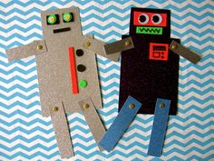 """""""Robot Friends"""": With some creativity and adult assistance, anyone can build a robot with moving limbs & googly eyes!"""