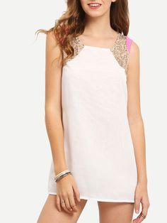 Shop White Sleeveless Sequined Straight Chiffon Dress online. SheIn offers White Sleeveless Sequined Straight Chiffon Dress & more to fit your fashionable needs.