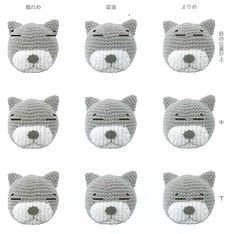 Different expressions for an amigurumi Amineko cat, Crochet Kawaii, Chat Crochet, Crochet Eyes, Crochet Cat Pattern, Crochet Diy, Crochet Cross, Crochet Gifts, Crochet Dolls, Crochet Patterns
