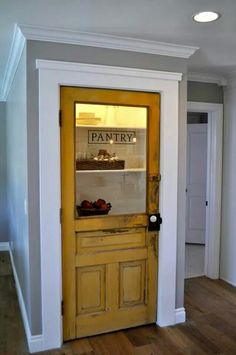 Vintage farmhouse door repurposed as pantry door - by Rafterhouse. I will have my future pantry door painted this color~ that is all I know. Vintage Modern, Vintage Farmhouse, Farmhouse Door, Farmhouse Style, Farmhouse Interior Doors, Fresh Farmhouse, Country Style, Old Doors, Home Projects
