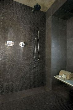 dark tiles - and mix of mosaic with large. contemporary  2012 TIle Trends
