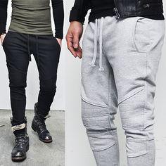 3sz) Designer Edition Seaming Slim Biker-Sweatpants 42 - GUYLOOK