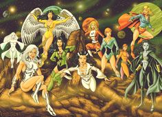 Girls of the Legion of Super Heroes. White Witch:Dream Girl:Dawnstar:Shrinking Violet:Phantasm Girl:Saturn Girl:Lightning Lass:Duo Damsel:Supergirl:Shadow Lass