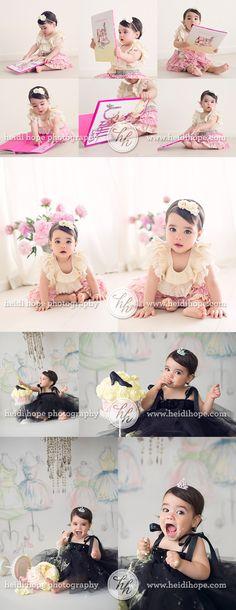 baby girls first birthday fancy nancy fashion inspired cake smash at http://www.heidihope.com