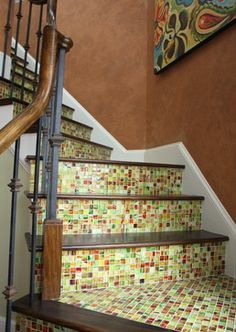 Stair Risers eclectic staircase Painted Stair Risers, Mosaic Flower Pots, Beautiful Stairs, House Stairs, Stairway To Heaven, Staircases, Mosaics, Diy Design, Man Cave