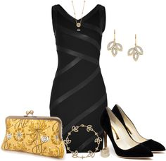 """""""Black & Gold"""" by jayhawkmommy ❤ liked on Polyvore"""