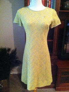 Vintage Yellow Metallic Silver Glitter and Sequined by PDeeVintage, $19.25