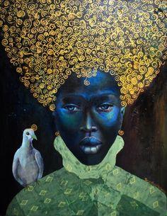 Black Woman Goddess Dove on Shoulder  Tamara Natalie Madden