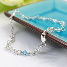 Beautiful anklet with Swarovski crystals