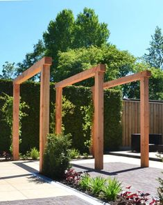 houten-pergola-van-lariks-douglas-hout-in-moderne-tuin ., houten-pergola-van-lariks-douglas-hout-in-moderne-tuin . cesPergolas can also be used at the entrances to make the front entrance of your home beautiful and attractive. Diy Pergola, Building A Pergola, Wood Pergola, Small Pergola, Pergola Canopy, Pergola With Roof, Outdoor Pergola, Covered Pergola, Pergola Ideas