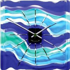 Fused Art Glass Wall Clock Maestro Home  Kitchen