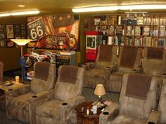 Seen here is the Popcorn machine:   This is the Lloyd's Antique Motorcycle Theme home theater, which we designed and built in a games-room over my garage.