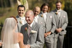 smiling groom and bride hold hands | Park City Mountain Resort Wedding | Logan Walker Photography