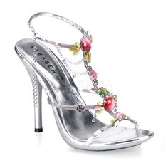 Elegant silver sandals with thin straps, delicate wiring details overlay on straps and coloured stone, chain and rhinestone embellishments on the instep. The foot is kept in place by an ankle strap with side adjustable chain closure, while the leg is leng Sexy Sandals, Silver Sandals, Silver Heels, Strap Sandals, Sexy Heels, Ugly Shoes, Fancy Shoes, Me Too Shoes, Pretty Shoes