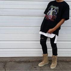 ⠀ #SimpleFits  @enrique_image • Tee: #BleachedGoods ⠀ • Tank: #FoG • Jeans: #Pacsun • Boots: #Yeezy
