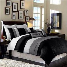 Luxury Stripe Bedding, Grey & White: King Size Full-Sheet Set. Bedding @ http://immortalmastermindx.storenvy.com/products/12405153-luxury-stripe-bedding-grey-white-king-size-full-sheet-set