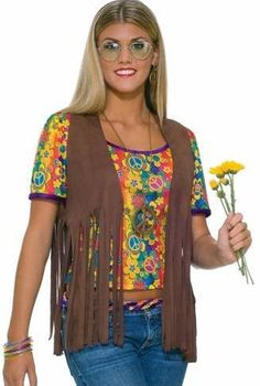Womens Hippie Costume 70s Faux Suede Brown Fringed Vest Womens US Standard (6-12) $13.99