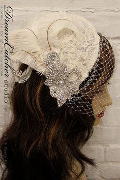 Stephanie  Vintage Lace Feather Headpiece by DreamcatcherStudio, $189.00