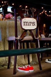 Such a good idea - put the brides reception shoes under her chair!