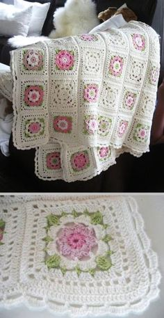 Inspiration :: Delicate & pretty afghan, motif pattern from German book. #crochet #blanket #throw by mela.saylor