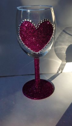 Glitter heart wine glasses by GlittersGalore on Etsy, $13.00