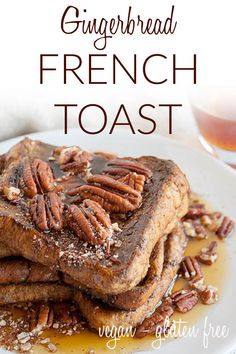 Gingerbread French Toast (vegan, gluten free) - You're going to want to add this sweet French toast to your holiday menu! It's tradition worthy for sure. #veganfrenchtoast #veganholidayrecipes #gingerbread Breakfast Recipes, Dinner Recipes, Vegan French Toast, Vegan Christmas, Healthy Sides, Appetizers For Party, Homemade Gifts, Gingerbread, Menu