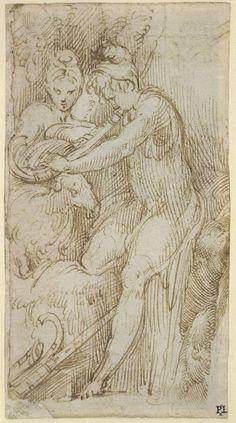 Parmigianino Shepherd and Shepherdess ca. 1518-40 drawing