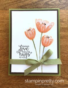Tranquil Tulips & Ribbon of Courage love card created by Mary Fish, Stampin' Up! Demonstrator.  1000+ StampinUp & SUO card ideas.  Read more https://stampinpretty.com/2017/06/new-wow-video-tranquil-tulips-card-idea.html