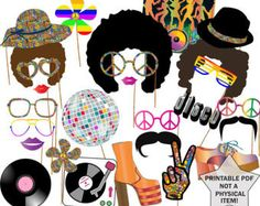 70s Party Photo booth Props Set 21 Piece PRINTABLE 1970s
