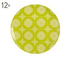 Set de 12 platos en porcelana Verdane - Ø25 cm