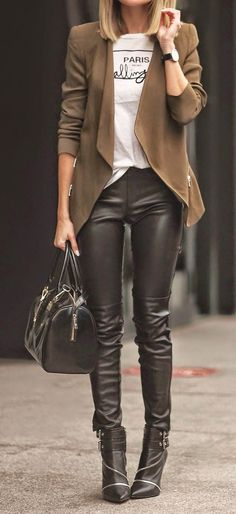 Street styles leather pants and boots