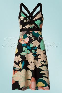 King Louie Cross Back Floral Dress 106 14 20294 20170428 Stunning Redhead, King Louie, Evening Dresses, Summer Dresses, Retro Chic, Black Trim, Frankenstein, Dress Backs, Vintage Tops