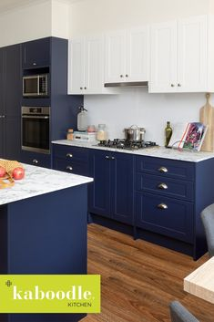 We love sharing kitchens from our kaboodle community, like this make-over wonder, putting new meaning into blue crush. Bluepea is paired perfectly with our new biancoccino benchtop and macaroon doors. Home Decor Kitchen, New Kitchen, Interior Design Living Room, Kitchen Design, Kitchen Ideas, Beach Cottage Kitchens, Home Kitchens, Blue Kitchen Cabinets, Laundry Room Design